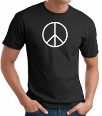 Peace Sign Shirt Basic Peace White Print Tee Black