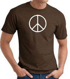 Peace Sign Shirt Basic Peace White Print Tee Brown