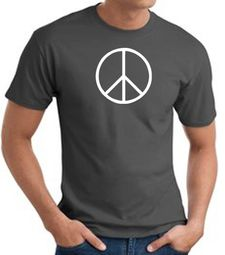Peace Sign Shirt Basic Peace White Print Tee Charcoal