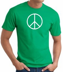 Peace Sign Shirt Basic Peace White Print Tee Kelly Green
