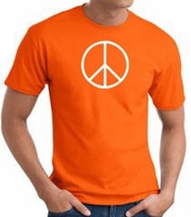 Peace Sign Shirt Basic Peace White Print Tee Orange