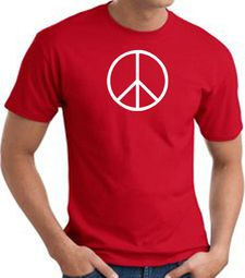 Peace Sign Shirt Basic Peace White Print Tee Red