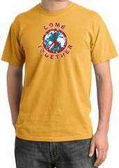 Peace Sign Shirt Come Together Pigment Dyed Tee Mustard