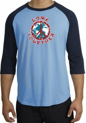 Peace Sign Shirt Come Together Raglan Shirt Carolina Blue/Navy