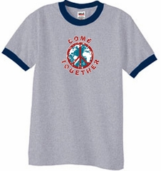 Peace Sign Shirt Come Together Ringer Shirt Heather Grey/Navy