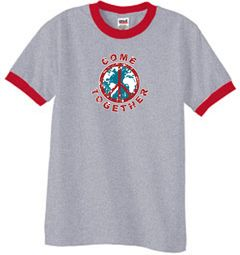 Peace Sign Shirt Come Together Ringer Shirt Heather Grey/Red