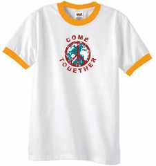 Peace Sign Shirt Come Together Ringer Shirt White/Gold