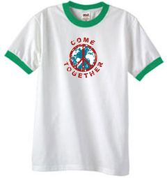 Peace Sign Shirt Come Together Ringer Shirt White/Kelly Green