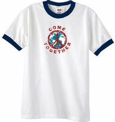 Peace Sign Shirt Come Together Ringer Shirt White/Navy
