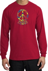 Peace Sign Shirt Funky 70s Peace Long Sleeve Shirt Red
