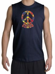Peace Sign Shirt Funky 70s Peace Muscle Shirt Navy