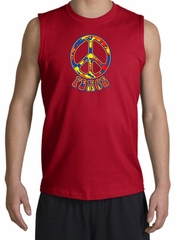 Peace Sign Shirt Funky 70s Peace Muscle Shirt Red