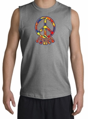 Peace Sign Shirt Funky 70s Peace Muscle Shirt Sports Grey