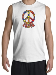Peace Sign Shirt Funky 70s Peace Muscle Shirt White