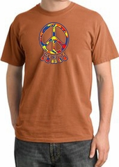 Peace Sign Shirt Funky 70s Peace Pigment Dyed Tee Burnt Orange