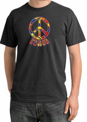 Peace Sign Shirt Funky 70s Peace Pigment Dyed Tee Dark Smoke