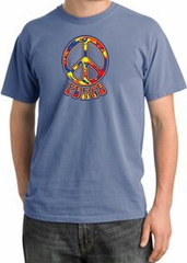Peace Sign Shirt Funky 70s Peace Pigment Dyed Tee Night Blue