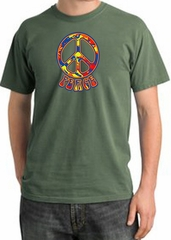 Peace Sign Shirt Funky 70s Peace Pigment Dyed Tee Olive