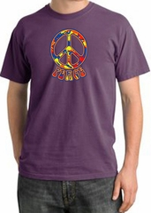 Peace Sign Shirt Funky 70s Peace Pigment Dyed Tee Plum