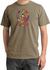 Peace Sign Shirt Funky 70s Peace Pigment Dyed Tee Sandstone