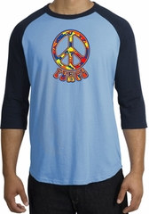Peace Sign Shirt Funky 70s Peace Raglan Tee Carolina Blue/Navy