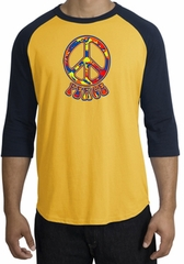Peace Sign Shirt Funky 70s Peace Raglan Tee Gold/Navy