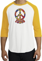 Peace Sign Shirt Funky 70s Peace Raglan Tee White/Gold