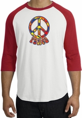 Peace Sign Shirt Funky 70s Peace Raglan Tee White/Red