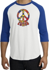 Peace Sign Shirt Funky 70s Peace Raglan Tee White/Royal