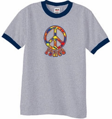 Peace Sign Shirt Funky 70s Peace Ringer Tee Heather Grey/Navy