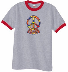 Peace Sign Shirt Funky 70s Peace Ringer Tee Heather Grey/Red