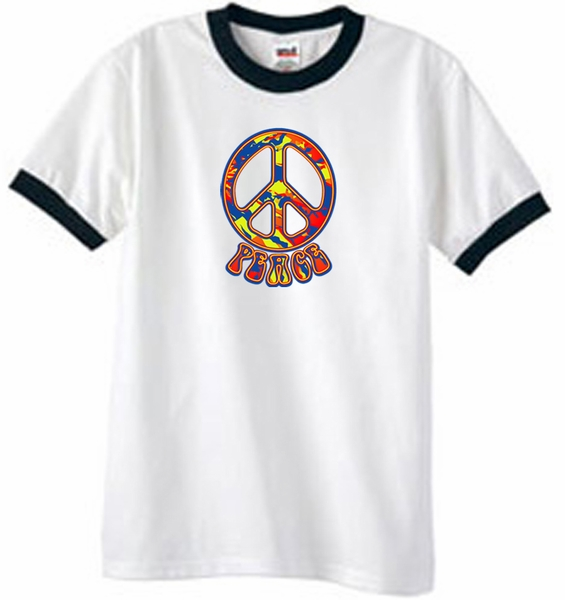 f7ffa9cc7 Peace Sign Shirt Funky 70s Peace Ringer Tee White/Black - Funky 70s ...