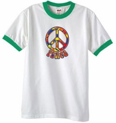 Peace Sign Shirt Funky 70s Peace Ringer Tee White/Kelly Green