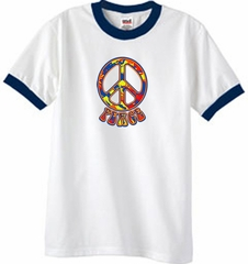 Peace Sign Shirt Funky 70s Peace Ringer Tee White/Navy