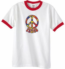 Peace Sign Shirt Funky 70s Peace Ringer Tee White/Red