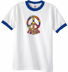 Peace Sign Shirt Funky 70s Peace Ringer Tee White/Royal