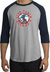 Peace Sign Shirt Give Peace A Chance Raglan T-Shirt Heather Grey/Navy