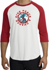 Peace Sign Shirt Give Peace A Chance Raglan T-Shirt White/Red