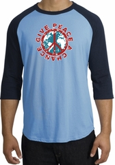 Peace Sign Shirt Give Peace A Chance Raglan Tee Carolina Blue/Navy
