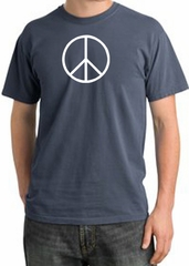 Peace Sign Shirt Peace White Print Pigment Dyed Tee Scotland Blue