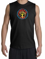 Peace Sign Shirt Psychedelic Peace Muscle Shirt Black