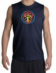 Peace Sign Shirt Psychedelic Peace Muscle Shirt Navy