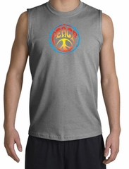 Peace Sign Shirt Psychedelic Peace Muscle Shirt Sports Grey
