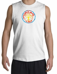 Peace Sign Shirt Psychedelic Peace Muscle Shirt White