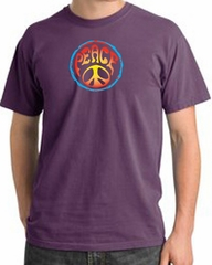 Peace Sign Shirt Psychedelic Peace Pigment Dyed Tee Plum