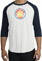Peace Sign Shirt Psychedelic Peace Raglan Shirt White/Navy