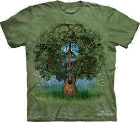 Peace Sign Shirt Tie Dye T-shirt Guitar Tree Adult Tee