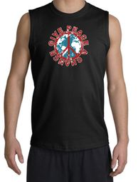 Peace Sign Shooter T-Shirt - Give Peace A Chance Cut Off Black Shirt