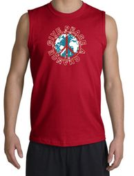 Peace Sign Shooter T-Shirt - Give Peace A Chance Cut Off Red Shirt