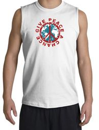 Peace Sign Shooter T-Shirt - Give Peace A Chance Cut Off White Shirt